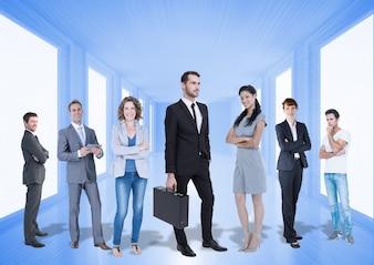 Executivos realização linha chuva corporativo