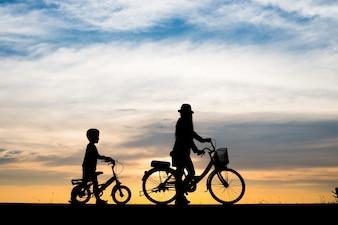 Família, fundo, noite, desporto, bicicleta