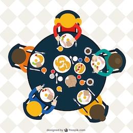 Família na mesa comer o pequeno-almoço