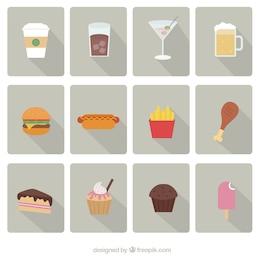 Fast food ícones conjunto de vetores