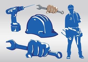 Ferramentas azuis de trabalhadores