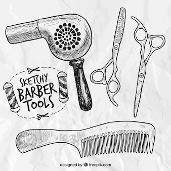 Ferramentas barbeiro esboçado