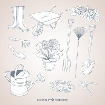 Ferramentas de jardinagem esboçado