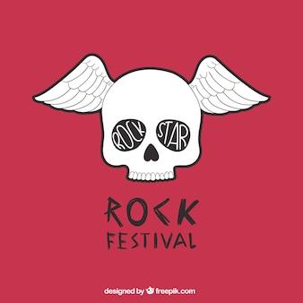 Festival de rock poster com um crânio