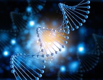 Figura DNA em um fundo do borrão