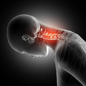 Figura feminina 3D com ossos do pescoço destacados