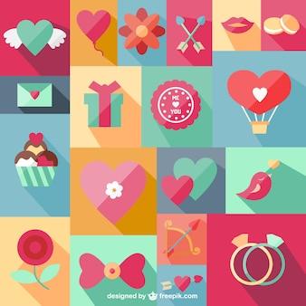 Vetor plano conjunto de símbolos românticos