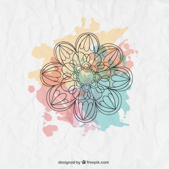 Flor esboçado com salpicos de aquarela