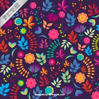 Fundo floral em estilo colorido