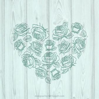 Floral do coração na madeira