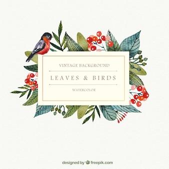 Folhas da aguarela e de aves de fundo