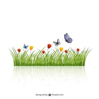 Folhas de Relva com borboletas