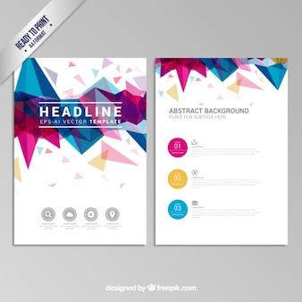 Folheto com design geométrico colorido