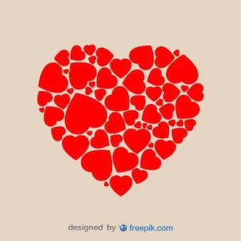 Formato de coração feito de corações