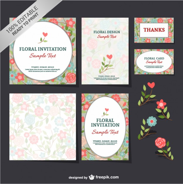 Conjunto floral livre mock-up
