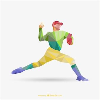 Livre de desenho polígono vetor de jogador de beisebol
