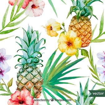 Fruta tropical da aguarela e plantas