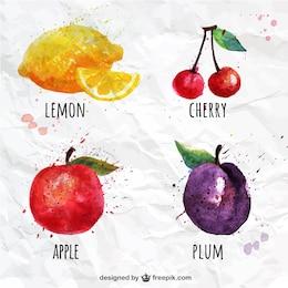 Frutas da aguarela ajustados