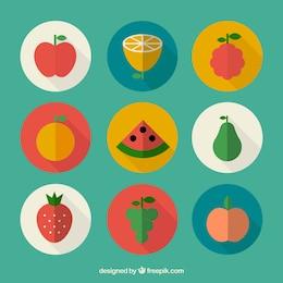Frutas em design plano