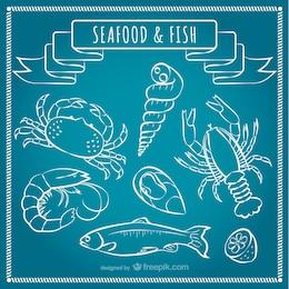 Frutos do mar e peixes vector