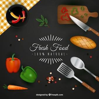 Fundo alimentos frescos