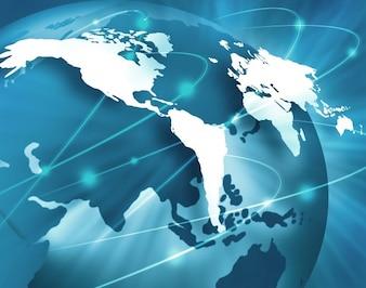 Fundo azul do mundo com linhas