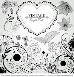 Fundo bonito floral do vintage