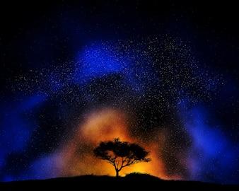 Fundo colorido do céu noturno com paisagem em silhueta da árvore