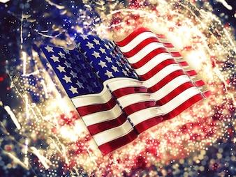 Fundo da bandeira 3D americana com efeito da faísca