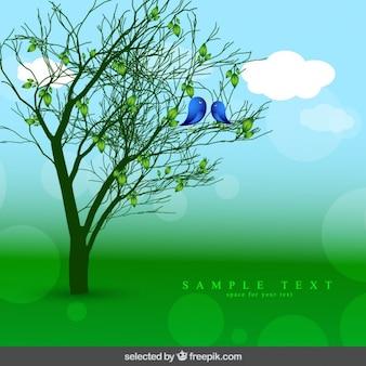 Fundo da natureza com árvore e pássaros