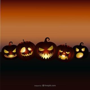 Fundo de Halloween com abóboras mal