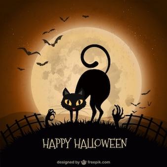 Fundo de Halloween com gato preto