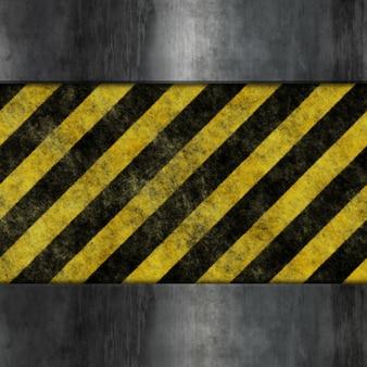 Fundo de metal estilo grunge com listras de advertência amarelas e pretas