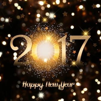 Fundo decorativo Feliz Ano Novo de luzes do bokeh e texto efeito de fogo de artifício
