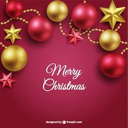 Fundo do Feliz Natal com bolas vermelhas e douradas