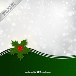 Fundo do Natal com folhas do azevinho