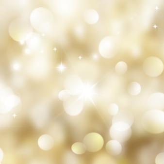 Fundo do Natal do ouro com luzes do bokeh e estrelas