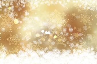 Fundo do Natal dos flocos de neve e luzes do bokeh