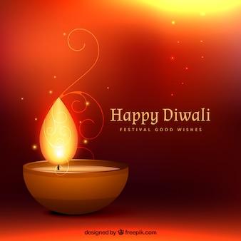 Fundo feliz de Diwali com uma vela