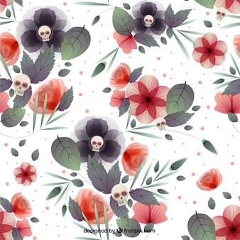 Fundo floral com crânios