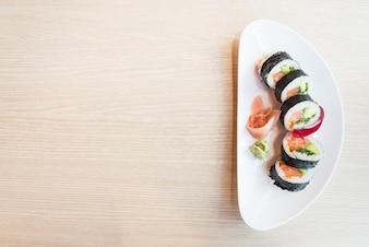 Fundo jantar tradicional sushi de japão
