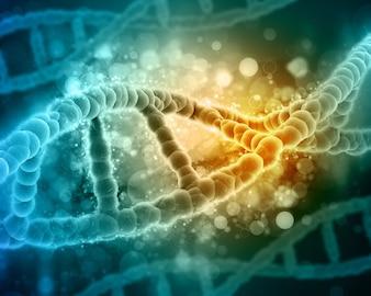 Fundo médico 3D com cadeias de ADN