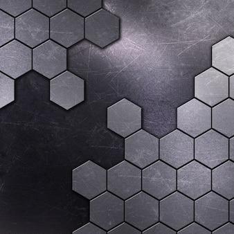 Fundo metálico com arranhões e manchas e formas hexagonais