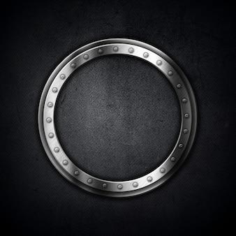 Fundo metálico com uma moldura circular