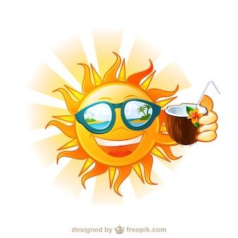 Engraçado sol dos desenhos animados ilha tropical