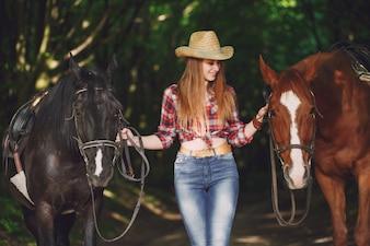 Garota com cavalo