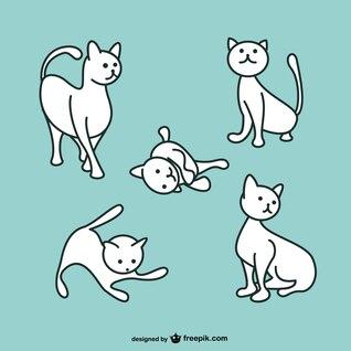 Gato branco que joga vetor