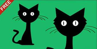 Gato dos desenhos animados na ilustração vetorial design plano
