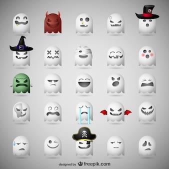 Emoticons fantasmas para o dia das bruxas