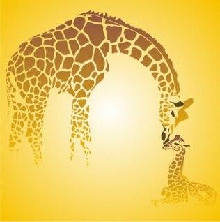 Girafa mãe bonito com seu bebê
